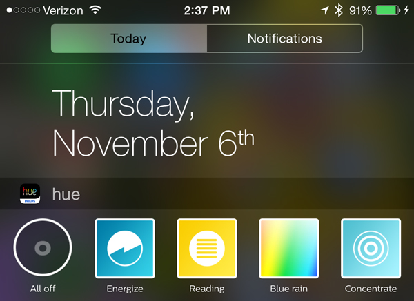 Philips Hue companion app adds an iOS 8 Notification Center widget