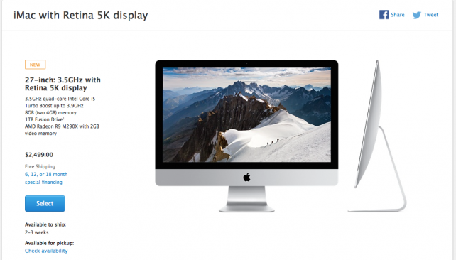 Apple is having a hard time filling orders for the new 27-inch Retina 5K iMac