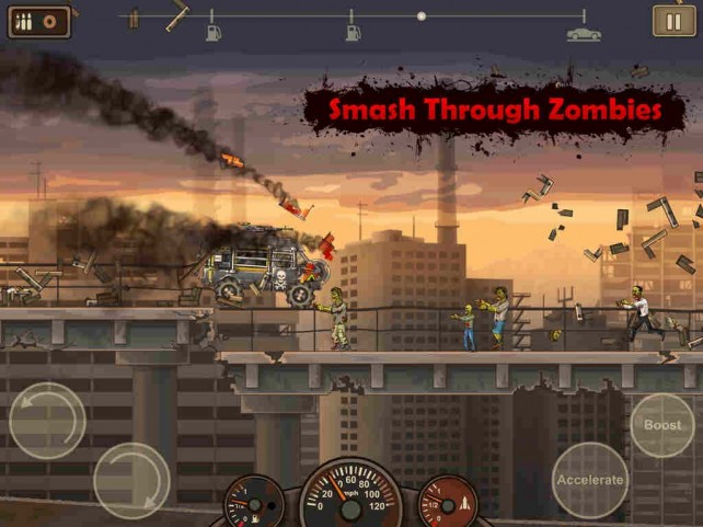Run over zombies through cities overrun by the undead in Earn to Die 2