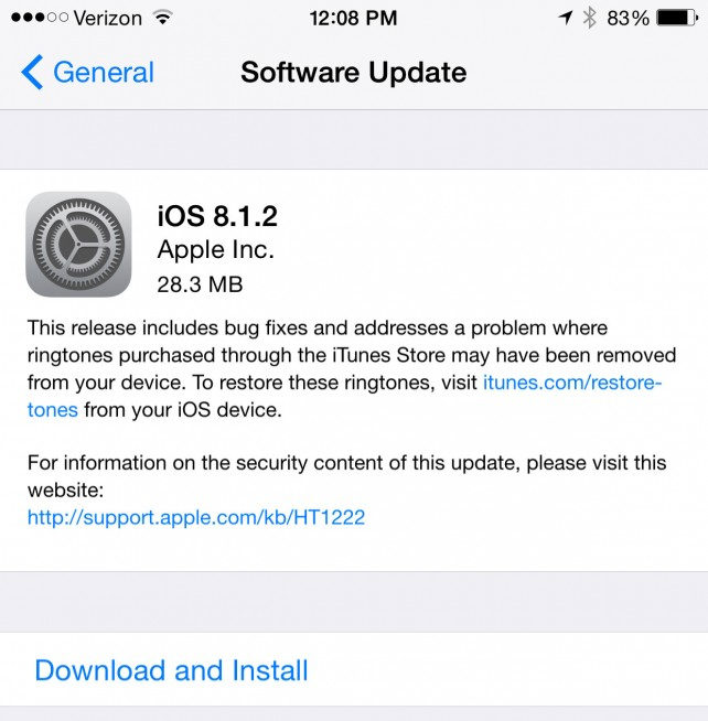 Apple releases iOS 8.1.2 offering a fix for disappearing ringtone issues