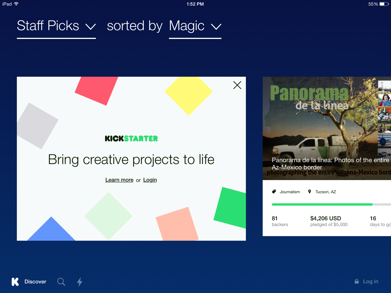 Kickstarter for iPad