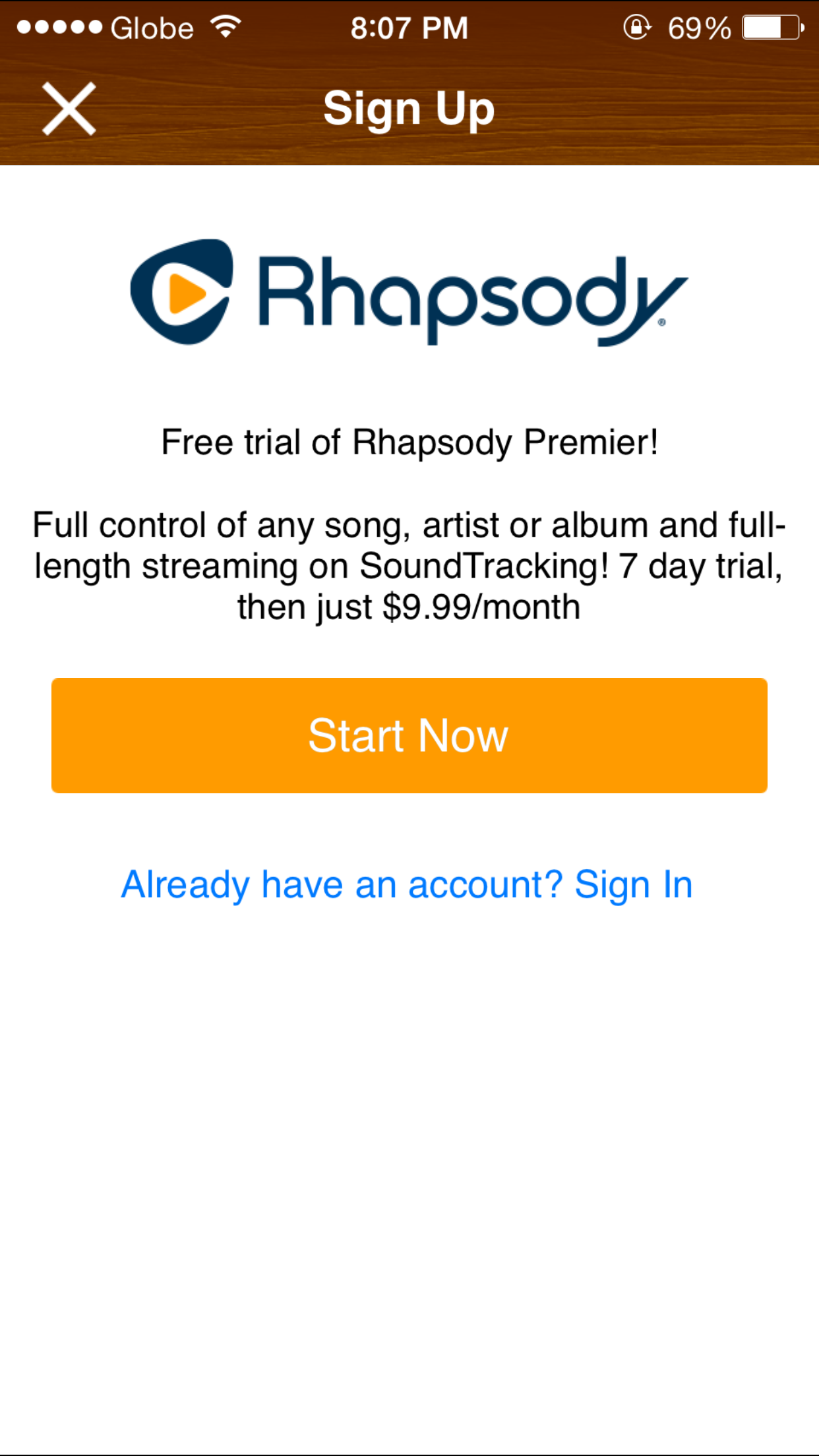 Sign up for Rhapsody right within SoundTracking.