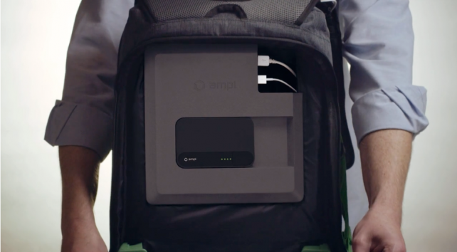 The unique AMPL Backpack can charge your iPhone and iPad on the go