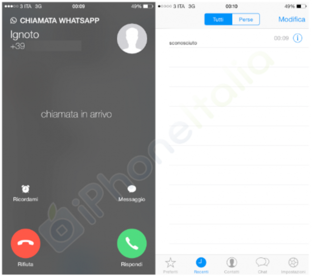 WhatsApp Messenger's voice calling feature.