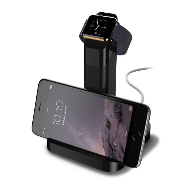 Griffins recently announced WatchStand holds both the Apple Watch and an iPhone