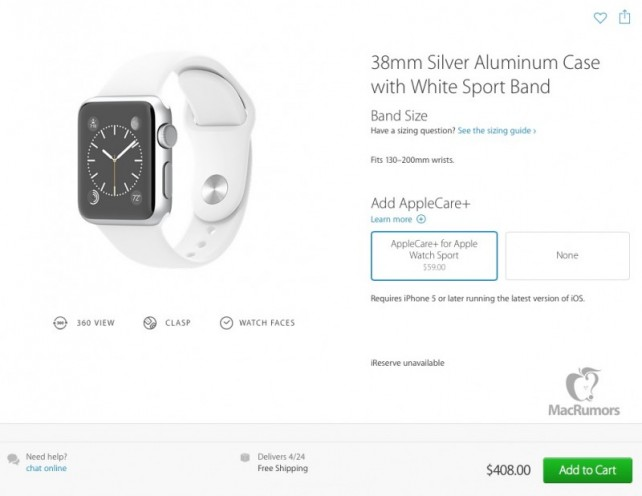 AppleCare+ for the Apple Watch Sport.