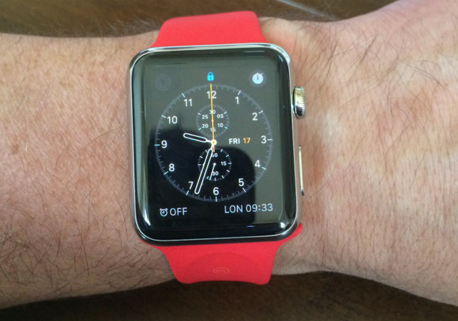 Custom red Apple Watch Sport Band, folding UK power plug spotted in the wild