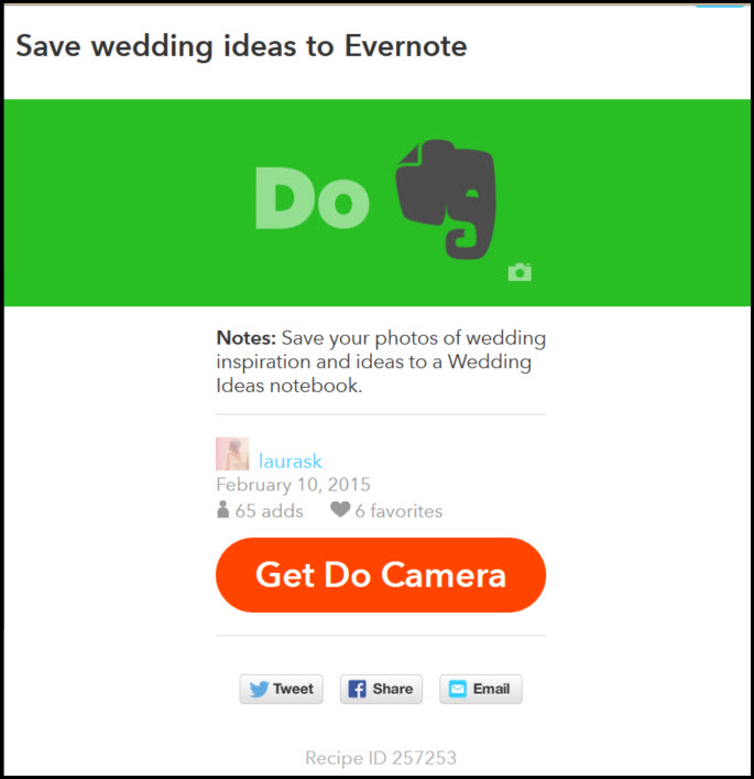 IFTTT Evernote Wedding