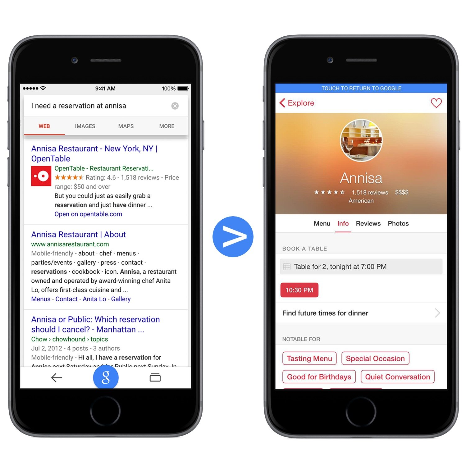 Googles App Indexing Speeds Up Switching To Apps From Chrome And - Google open table