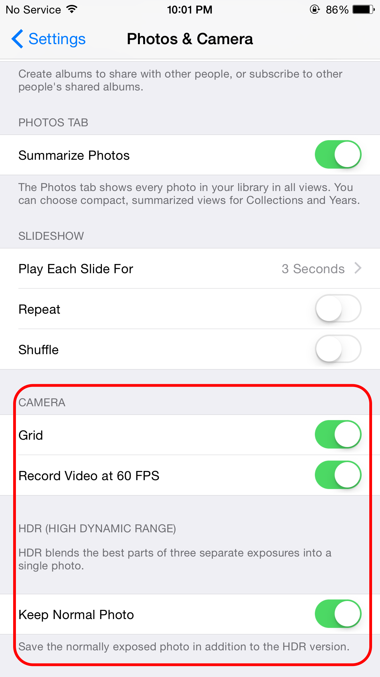 Camera settings in the Setting app