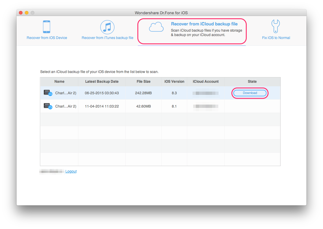 Recovery from iCloud backup via Dr.Fone