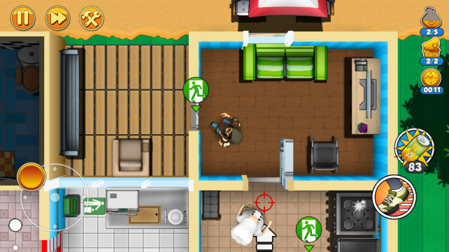 Steal some loot and sneak through streets in Robbery Bob 2