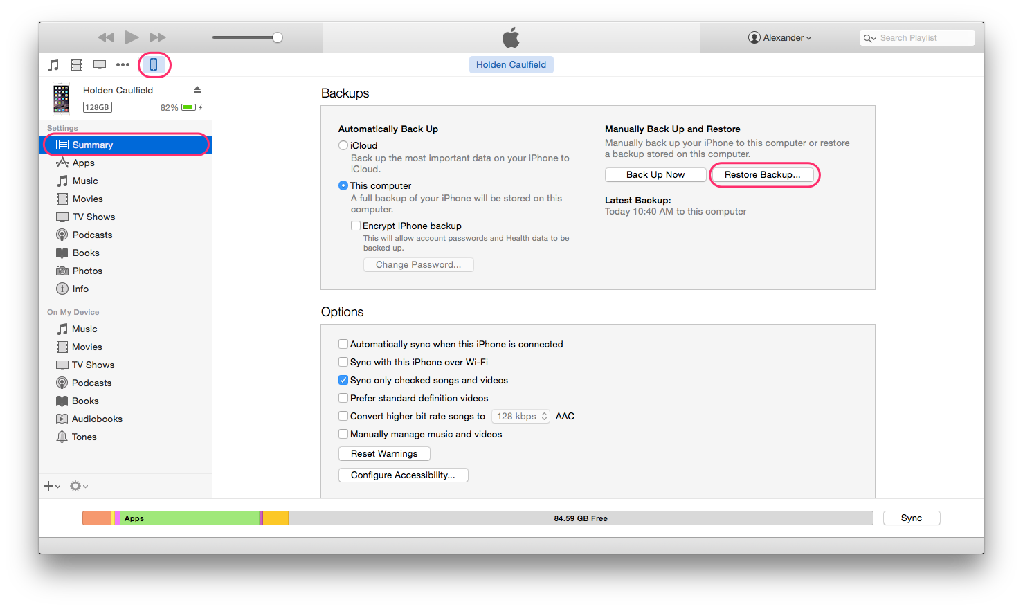Restoring from iTunes backup, the Apple way
