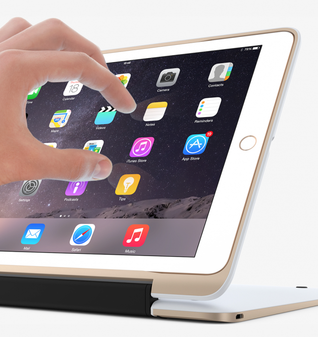 The case can also fold back in order to support the iPad Air 2 in an upright position.