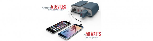 Tylt's Energi Desktop Charging Station can charge up five USB devices at once