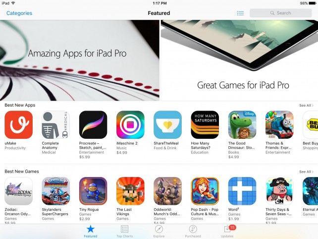 Apple promotes apps and games for iPad Pro on App Store