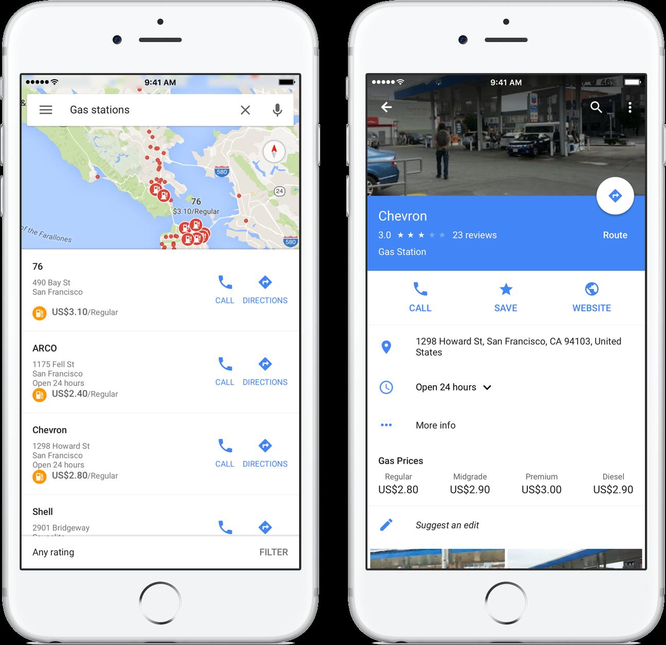 Google Maps gas prices
