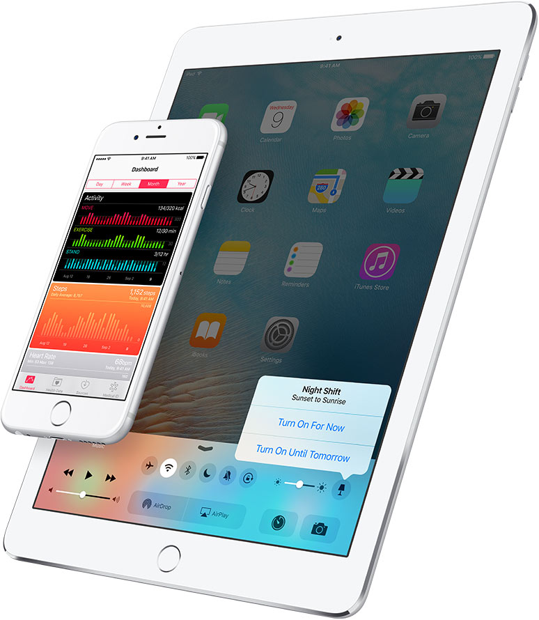 iOS 9.3 Night Shift Control Center