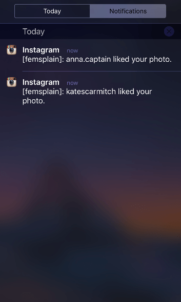 Instagram multiple account push notification