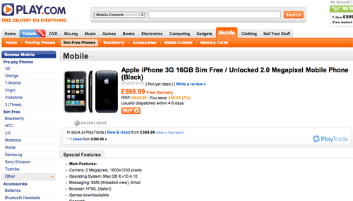 Play.com Offering Unlocked iPhones In The UK