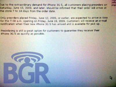 AT&T Sold Out Of Initial iPhone 3G S Pre-Order Stock