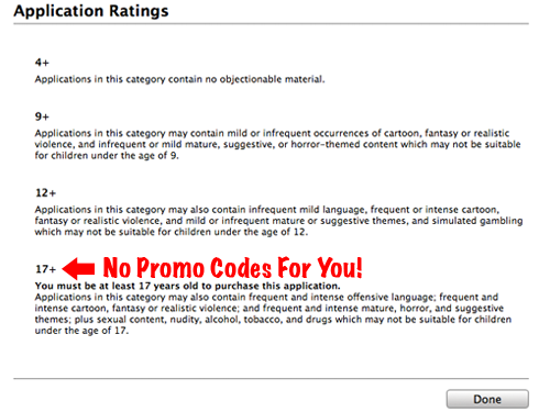 Developers Unable To Issue Promo Codes For Apps Rated 17+
