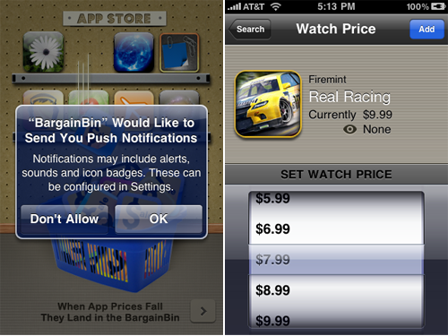 BargainBin 3.0 First App With Push Notifications For App Store Price Drops