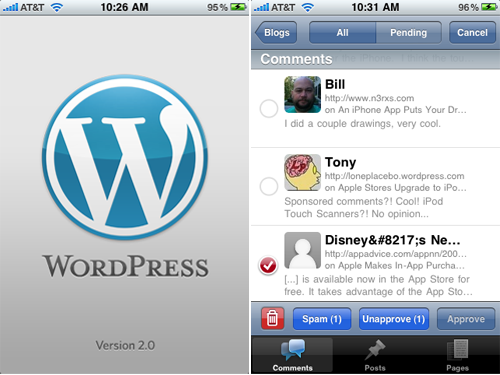 WordPress iPhone App Goes 2.0, But It's Not An Update