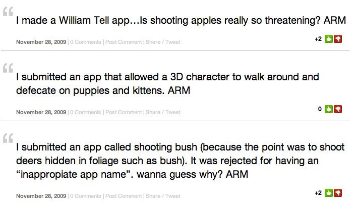 ARM Aka Apple Rejected Me Is The New 'fmylife' For iPhone Developers