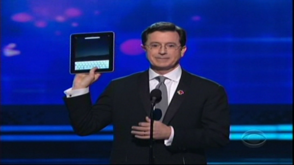 Stephen Colbert Gets An iPad & Shows It Off At The Grammys