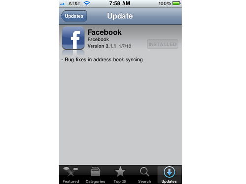 Facebook v3.1.1 Fixes Contact Syncing Issue, But Still No Push Sounds