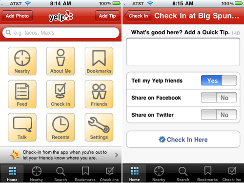Yelp v4.0 Allows You To Be More Social With The Addition Of Check-Ins