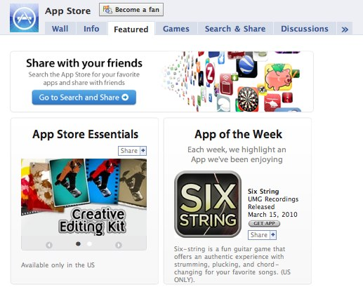 The App Store Gets A Facebook Page