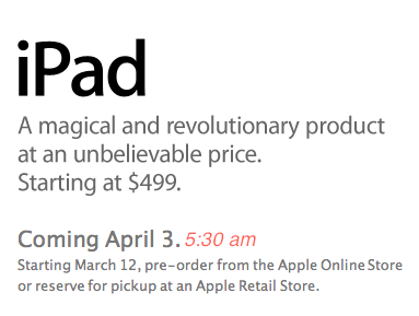iPad Pre-Orders To Start In T-12 Hours