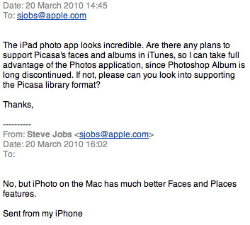 Steve Jobs: No Picasa Support For The iPad, Get iPhoto Instead
