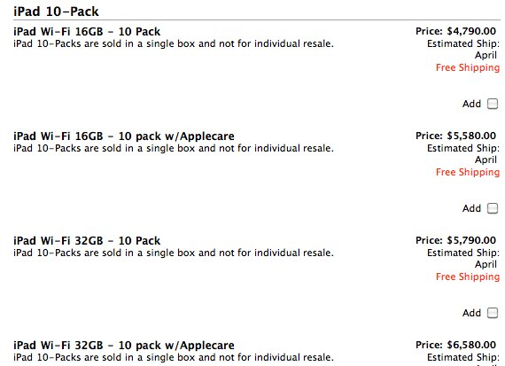Apple Now Selling iPad 10-Packs To Educational Institutions