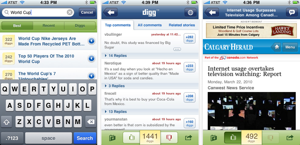 Digg Releases Official iPhone App