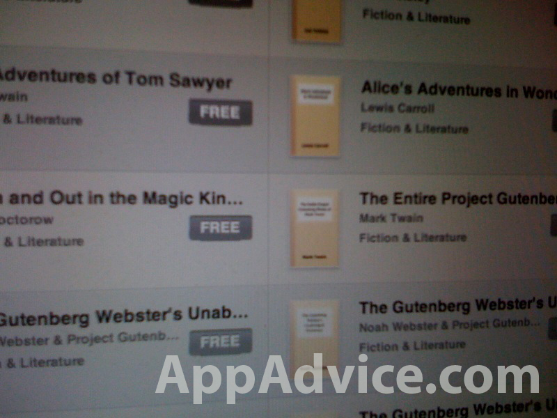 Exclusive: iPad iBooks Features The Gutenberg Project Catalog - 30,000 Free eBooks