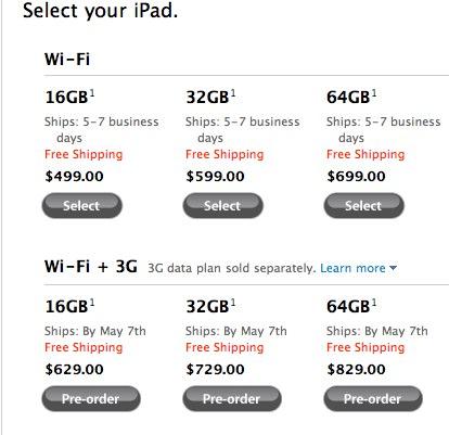The US iPad 3G Ships By May 7th