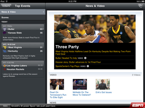 ESPN ScoreCenter Gets The XL Treatment For iPad