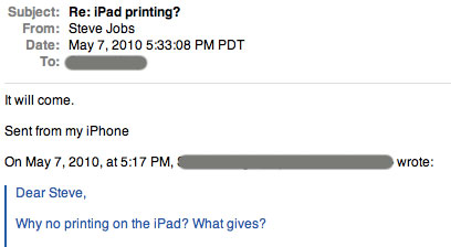 Steve Jobs Confirms Upcoming Printing Capabilities For The iPad