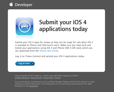 Apple Begins Urging Developers To Get Their iOS 4 Apps Submitted