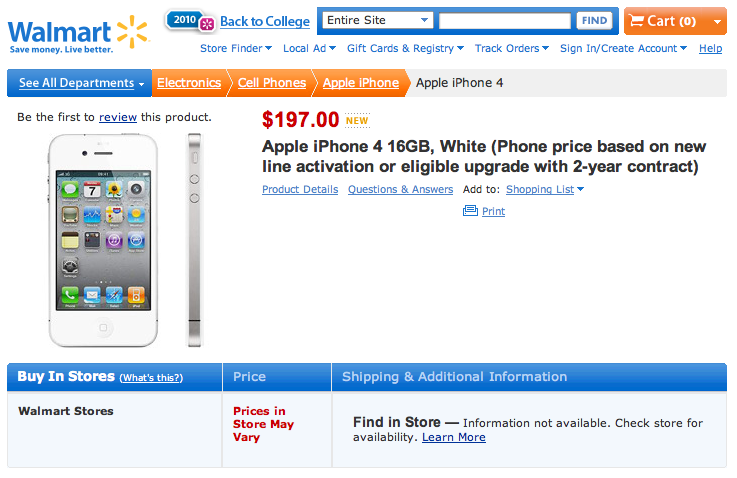 White iPhone 4 Shows Up On Walmart.com - Available Thursday?
