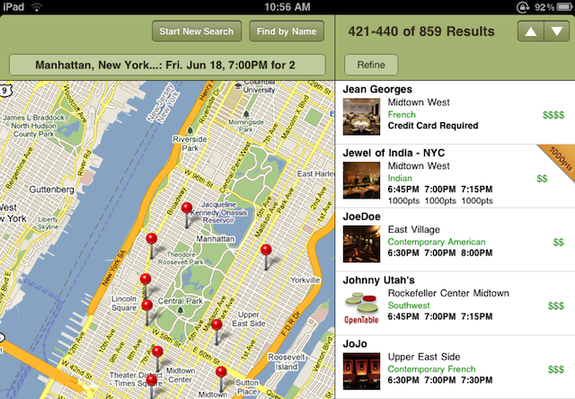 OpenTable Restaurant Reservation App Comes To iPad