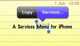 A Services Menu For iPhone?