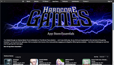 """New Section In App Store - """"Hardcore Games"""" For iDevice Gamers"""