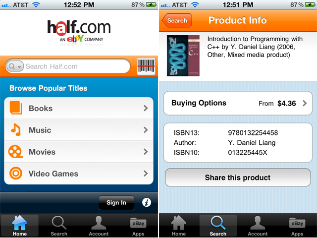 eBay's Half.com Gets Its Own iPhone App, Great For Finding Cheap Textbooks And More
