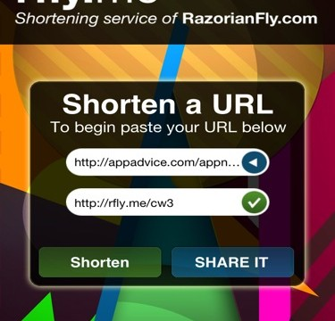 QuickAdvice: Shorten Your URLs With Flair In RFly.Me Mobile