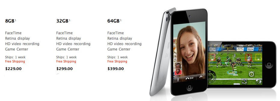 iPod Touch 4G Now Shipping