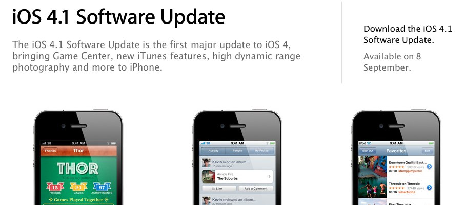 Confirmed: iOS 4.1 To Hit This Wednesday [Update: Or Not?]